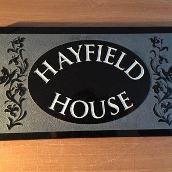House Name Plate Black Granite Trajb White 350 x 200